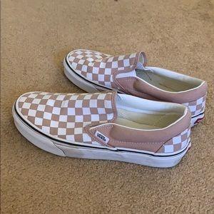Rose and White Checkered Slip On Vans